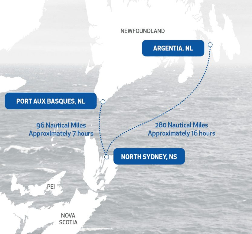 Ferry routes between Nova Scotia and Newfoundland