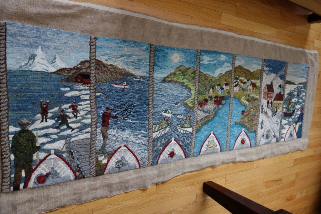 Seven Seasons hooked rug - hand-dyed and as-is wool on linen. Designed and hooked by Gwen Burt, Northern Arm, Newfoundland and Labrador, Canada, 2013.